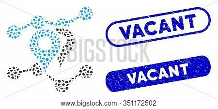 Mosaic Geo Trends And Rubber Stamp Seals With Vacant Caption. Mosaic Vector Geo Trends Is Composed W