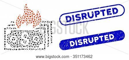Mosaic Burn Banknotes And Corroded Stamp Seals With Disrupted Caption. Mosaic Vector Burn Banknotes