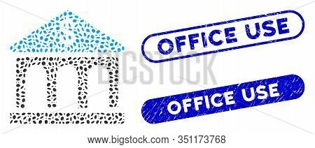 Mosaic Classic Bank Building And Rubber Stamp Seals With Office Use Text. Mosaic Vector Classic Bank