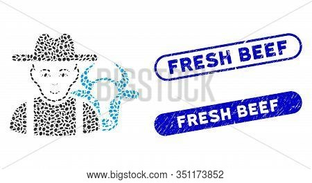 Collage Cattle Farmer And Grunge Stamp Seals With Fresh Beef Text. Mosaic Vector Cattle Farmer Is Co