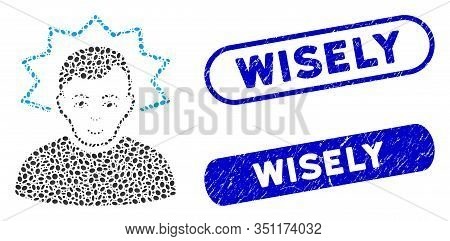 Mosaic Inventor And Rubber Stamp Seals With Wisely Caption. Mosaic Vector Inventor Is Designed With
