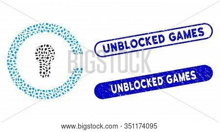 Mosaic Keyhole And Corroded Stamp Seals With Unblocked Games Text. Mosaic Vector Keyhole Is Created
