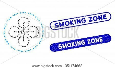 Mosaic Drone Flight And Rubber Stamp Seals With Smoking Zone Caption. Mosaic Vector Drone Flight Is