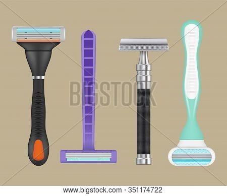 Razors Realistic. Woman Depilation Items Shaving Razors Vector Collection Of Blades. Razor And Blade