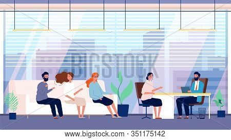 Recruitment Agency. Candidates, Job Office. Headhunting And Hiring. People Waiting On Sofa Interview