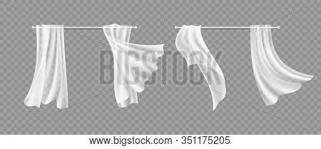 Window Curtains. Transparent White Silk Hanging Fabric. Isolated Realistic Interior Design And Decor