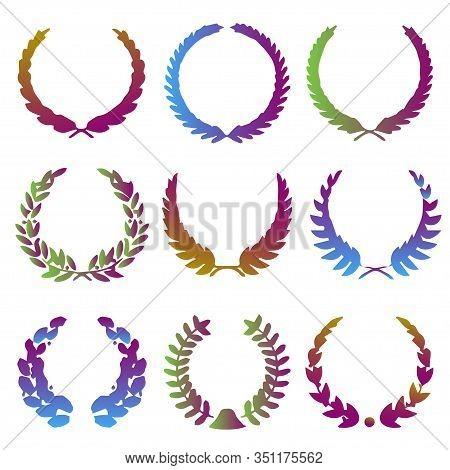Collection Of Vibrant Gradient Circular Laurel Foliate, Wheat, Oak Wreaths Depicting An Award, Achie