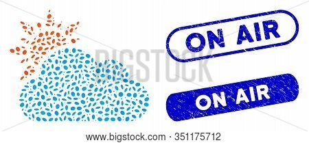 Mosaic Cloudy Weather And Corroded Stamp Seals With On Air Caption. Mosaic Vector Cloudy Weather Is
