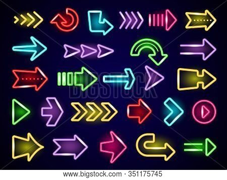 Glow Neon Arrows. Light Direction Arrows Retro Outside Street Advertizing Elements Vector Neon Reali