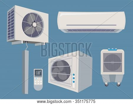 Conditioner Set. Air Condition Wind System Ventilation Vector Cartoon Collection Home Smart Items. I