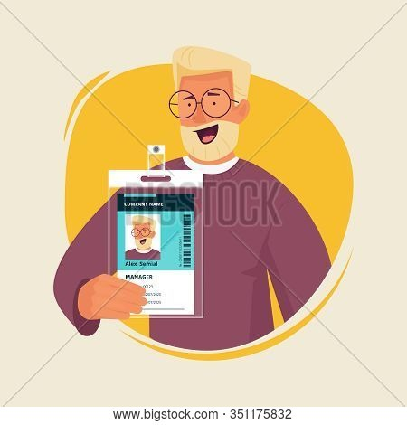 Office Manager With Id Card. Businessman Presenting Personal Badge Passport Entrance Document Staff
