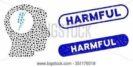 Mosaic Brain Electric Shock And Corroded Stamp Watermarks With Harmful Text. Mosaic Vector Brain Ele
