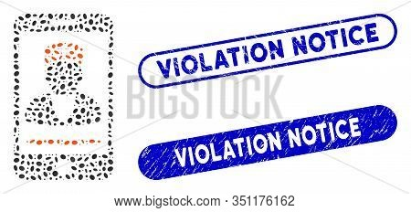 Collage Mobile Doctor And Corroded Stamp Seals With Violation Notice Phrase. Mosaic Vector Mobile Do