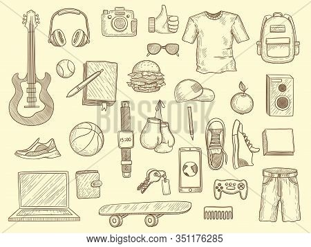 Teenage Stuff. Young Boys And Girls Clothes And Gadgets Teenage Modern Wardrobe Vector Drawn Collect