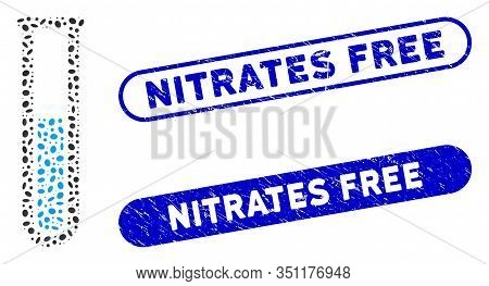 Mosaic Blue Liquid Test Tube And Grunge Stamp Seals With Nitrates Free Text. Mosaic Vector Blue Liqu