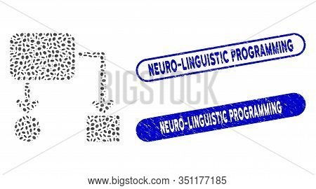 Mosaic Flow Chart And Grunge Stamp Seals With Neuro-linguistic Programming Text. Mosaic Vector Flow