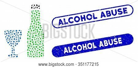 Mosaic Alcohol And Rubber Stamp Seals With Alcohol Abuse Caption. Mosaic Vector Alcohol Is Composed