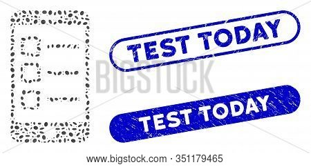 Mosaic Mobile List And Distressed Stamp Seals With Test Today Phrase. Mosaic Vector Mobile List Is C