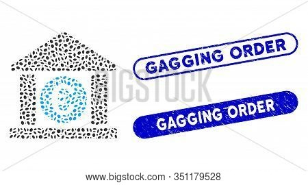 Mosaic Euro Bank Building And Distressed Stamp Seals With Gagging Order Text. Mosaic Vector Euro Ban