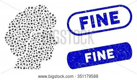 Mosaic Woman Profile And Rubber Stamp Seals With Fine Text. Mosaic Vector Woman Profile Is Composed