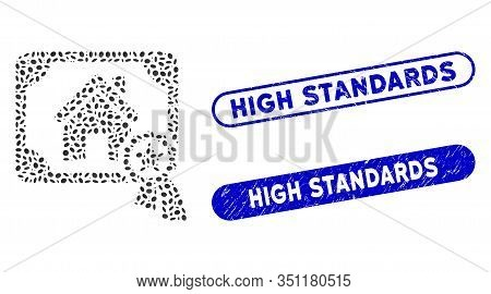 Mosaic Realty Certification And Corroded Stamp Seals With High Standards Caption. Mosaic Vector Real
