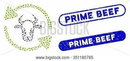 Mosaic Refresh Cow And Grunge Stamp Seals With Prime Beef Phrase. Mosaic Vector Refresh Cow Is Compo