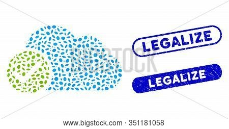 Mosaic Valid Cloud And Grunge Stamp Seals With Legalize Phrase. Mosaic Vector Valid Cloud Is Formed