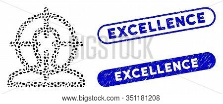 Mosaic Target And Distressed Stamp Seals With Excellence Phrase. Mosaic Vector Target Is Created Wit