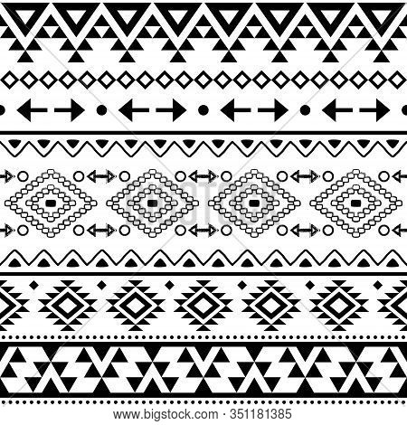 Tribal Geometric Aztec Seamless Vector Pattern, Navajo Repetitive Design In Black Pattern On White B