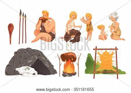 Prehistoric People In Stone Age Set Concept. Ancient Prehistoric Young And Adult Cave People, Doing