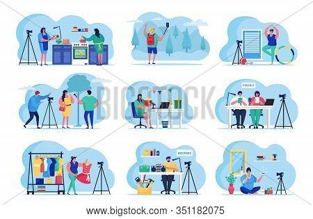 Bloggers Video Streaming Online Social Media Vector Illustrations Set. Various Video Blogger Make Re