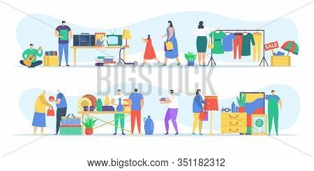People At Flea Market, Man And Woman Selling Old Secondhand Stuffs At Market Fair Shops Flat Vector