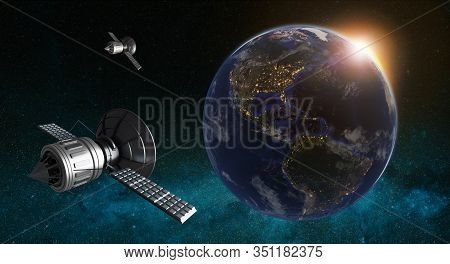 3d Illustration Of Satellites Orbiting Planet Earth. Cyberspace With City Lights On American Contine