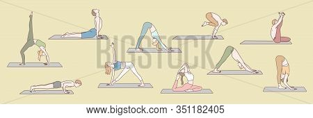 Set Of People Doing Yoga Concept. Group Of Young Boys And Girls Are Standing In Yoga Posture Or Asan