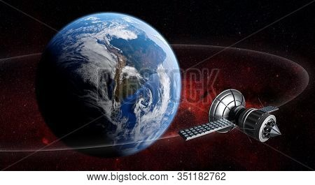 3d Render Of Satellite Spaceship Orbiting Planet Earth With Reddish Cosmos Background. Earth And Cos