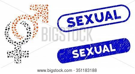 Mosaic Sexual Symbols And Corroded Stamp Seals With Sexual Phrase. Mosaic Vector Sexual Symbols Is C