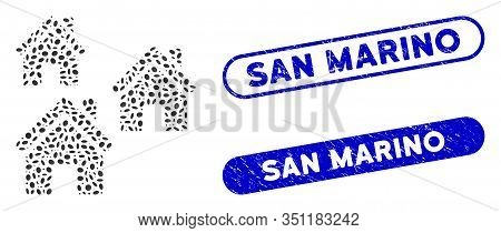 Mosaic Village Buildings And Grunge Stamp Seals With San Marino Caption. Mosaic Vector Village Build