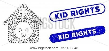 Mosaic Prenatal Hospital And Corroded Stamp Seals With Kid Rights Phrase. Mosaic Vector Prenatal Hos