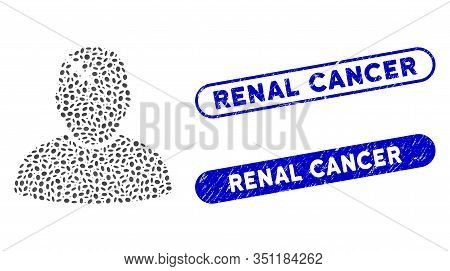 Collage Patient And Corroded Stamp Seals With Renal Cancer Phrase. Mosaic Vector Patient Is Created