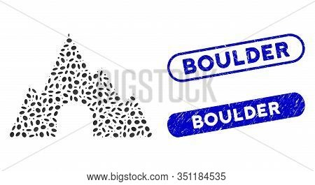 Mosaic Mountain Tunnel And Rubber Stamp Seals With Boulder Phrase. Mosaic Vector Mountain Tunnel Is