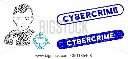 Mosaic Social Engineer And Rubber Stamp Seals With Cybercrime Caption. Mosaic Vector Social Engineer