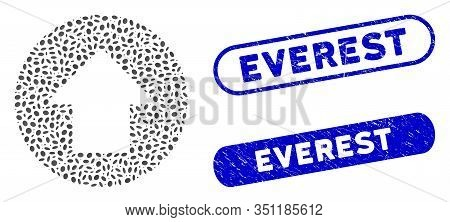 Mosaic Up Arrow And Distressed Stamp Seals With Everest Text. Mosaic Vector Up Arrow Is Designed Wit
