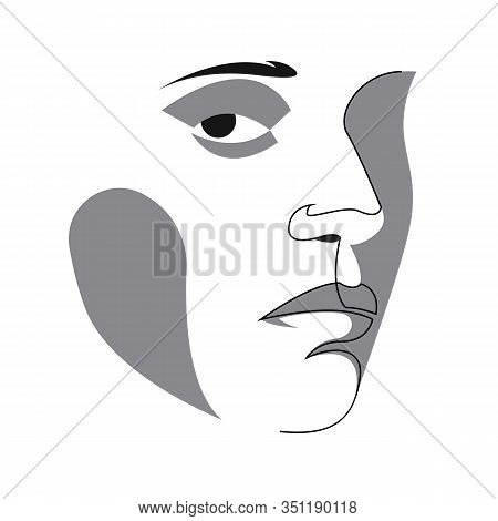 Abstract Drawing Of Portrait Of A Beautiful Womans Face. The Concept Of Skin Beauty Care For Young F