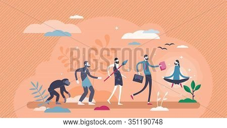Evolution Sequence Stages Concept, Flat Tiny Person Vector Illustration. Human Growth From Primitive
