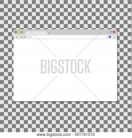 Browser Window Isolated On Transperent Background. Opened Web Browser. Blank Template For Search And