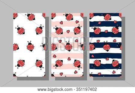 Set Of Seamless Backgrounds With Ladybugs In Children's Cartoon Style Colorful Hand Drawing.