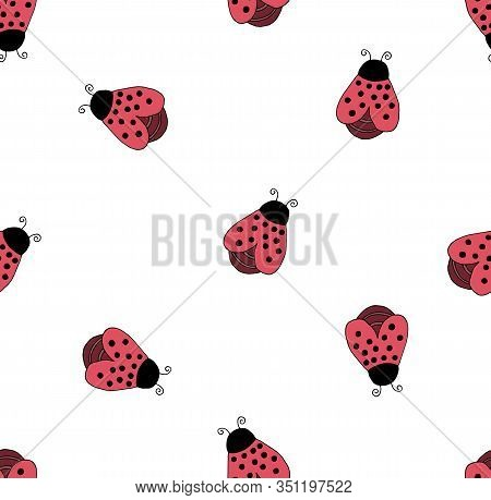 Seamless Background With Ladybugs In Children's Cartoon Style Colorful Hand Drawing.