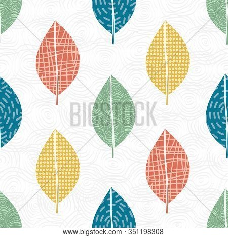Vector Blue Green Orange Yellow Leaves On White Background. Seamless Repeat Pattern. Background For