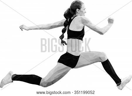 Female Athlete Jumper Triple Jump Black And White Image Low Poly