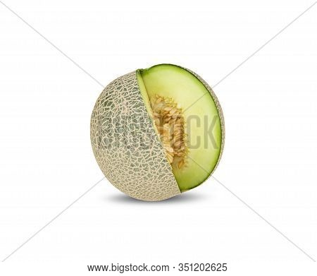 Whole And Cut Green Melon With Stem On White Background